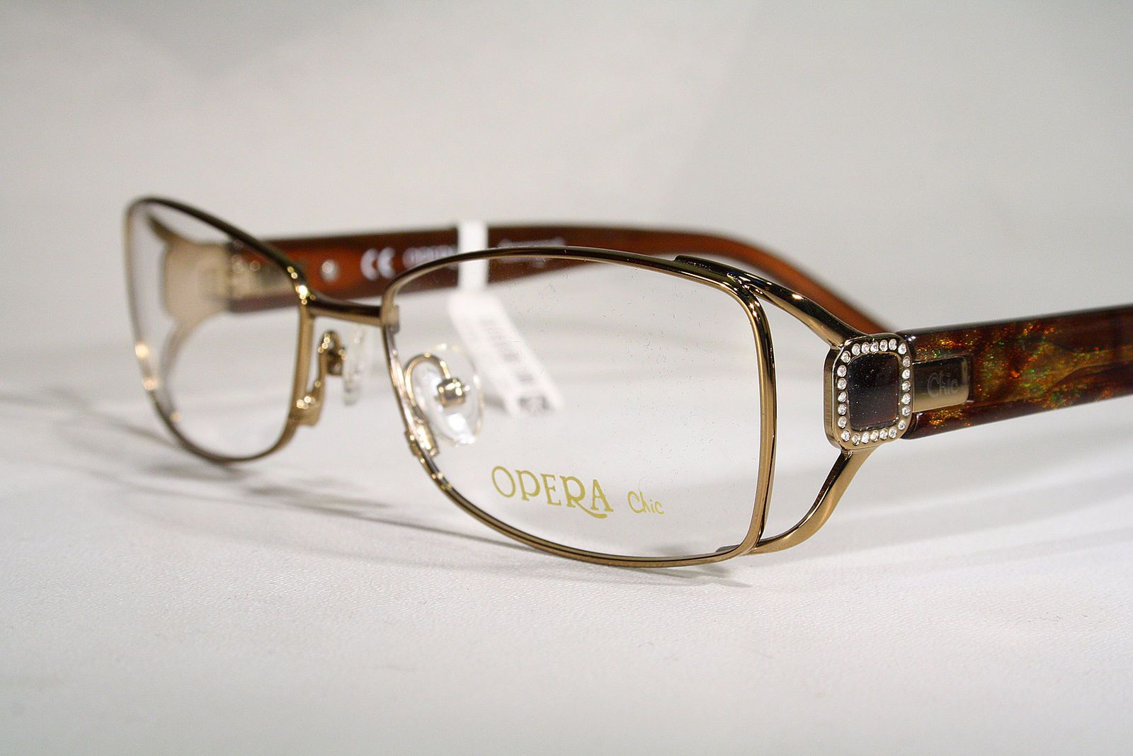 efdd76211a7 OPERA CHIC Women s Gold   Diamantes in Caramel Brown Eyeglass Frames Glasses    eBay (RipVanW)