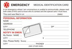 Free Printable Medical ID Cards