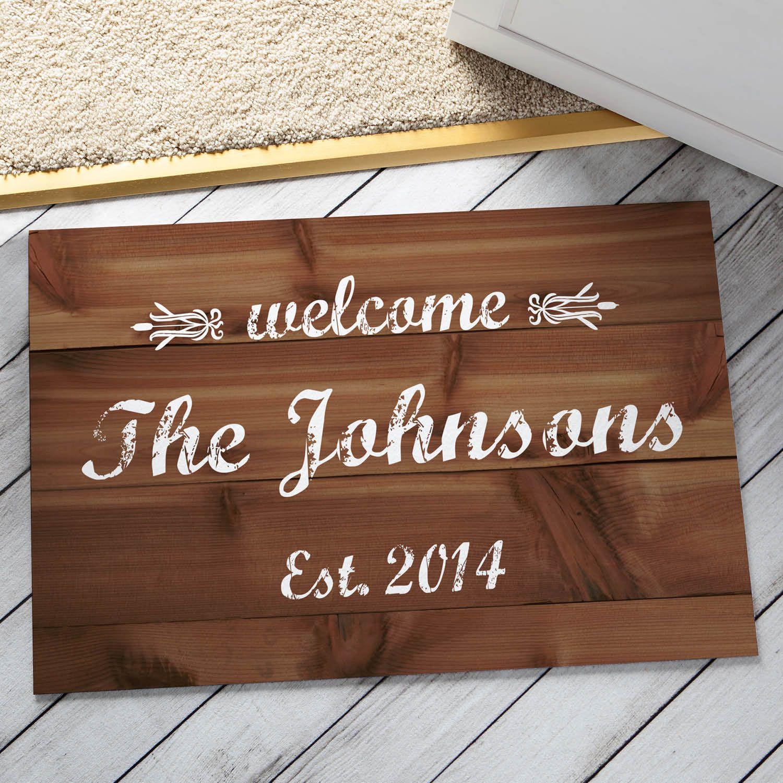 custom welcome mats housewarming customized personalized name gift mat last monogram wedding doormat pin