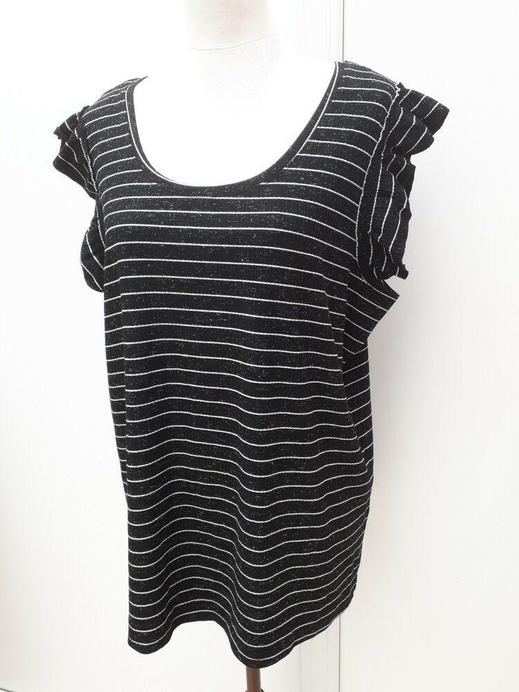 205530ac01e Matalan Ladies Size 20 Black White Stripe Tunic Top Spring Curve ...