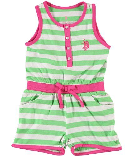 U.S. Polo Assn. Baby-Girls Infant Button Up Sleeveless Romper $7.99 (76% OFF)