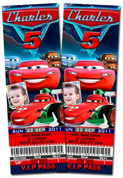 t7 cars ticket-disney cars 3, personalized ticket invitations, Birthday invitations