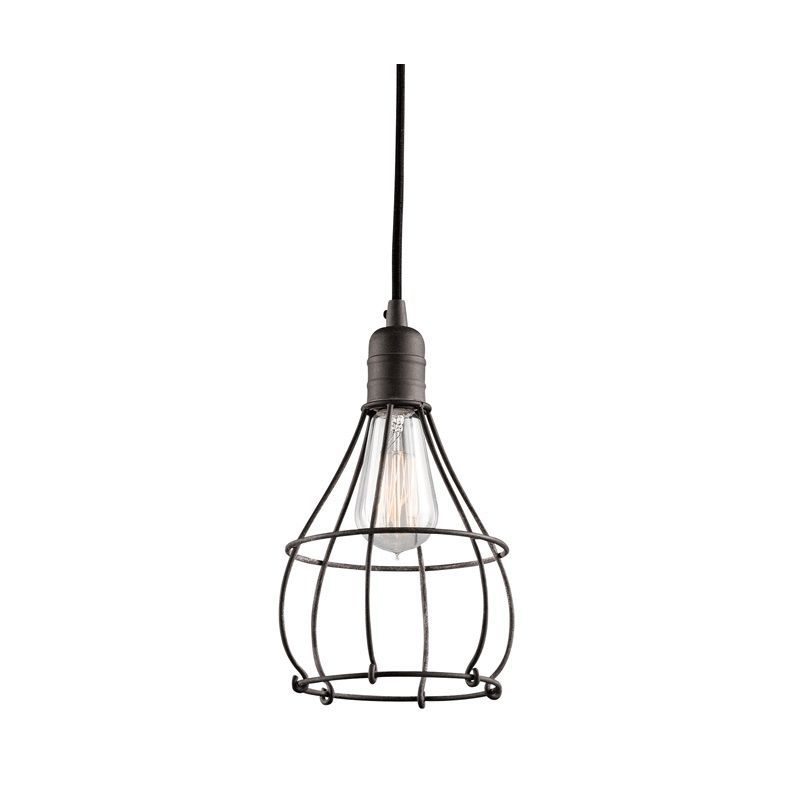 Kichler 43602 Industrial Cage 1 Bulb Indoor Mini Pendant Weathered Zinc Lighting Pendants