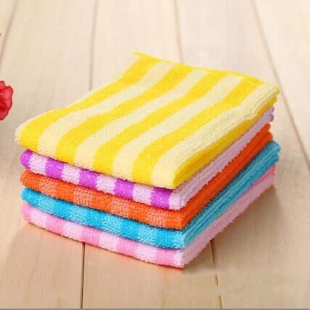 Useful Multifunctional Eco Friendly Microfiber Kitchen Towels Set Kitchen Towel Set Striped Towels Towel Set