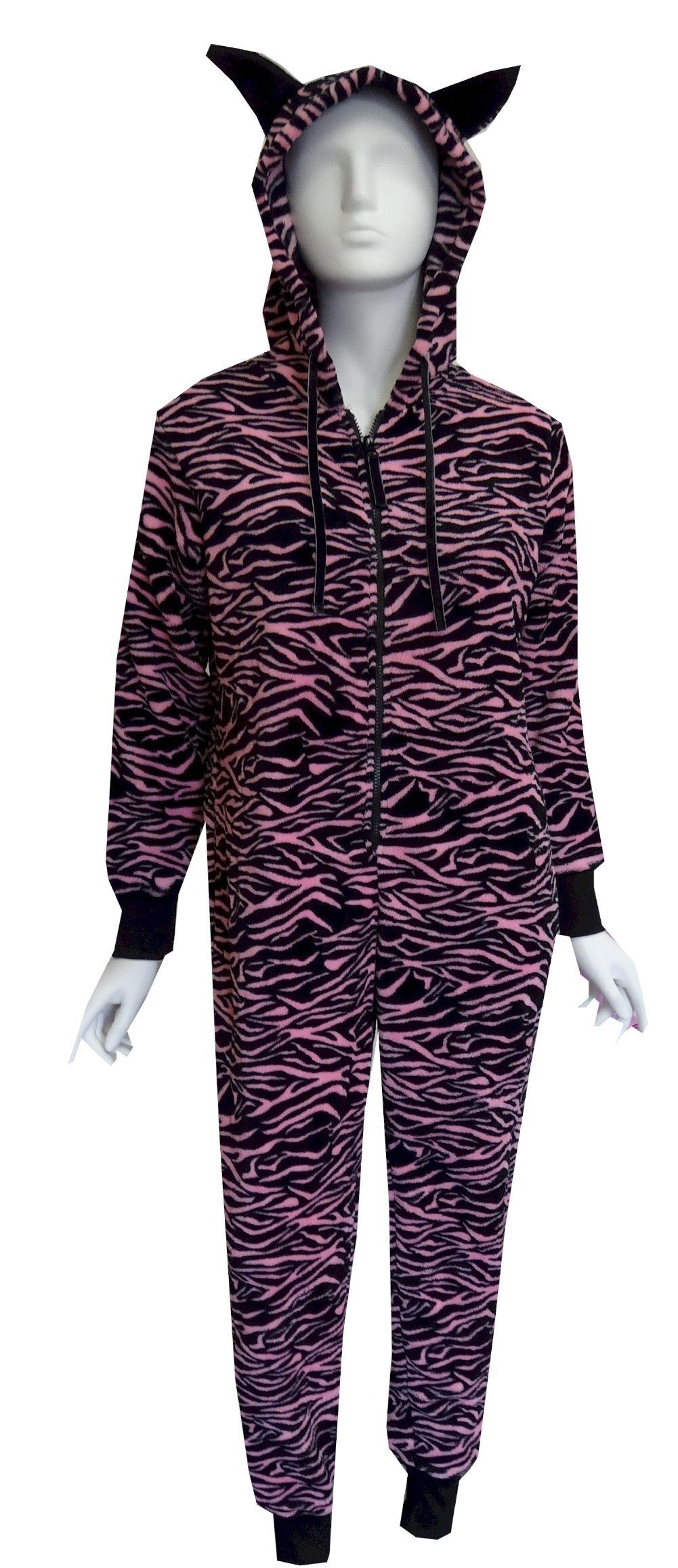 Zebra print plush pink and black one piece hooded pajama one piece