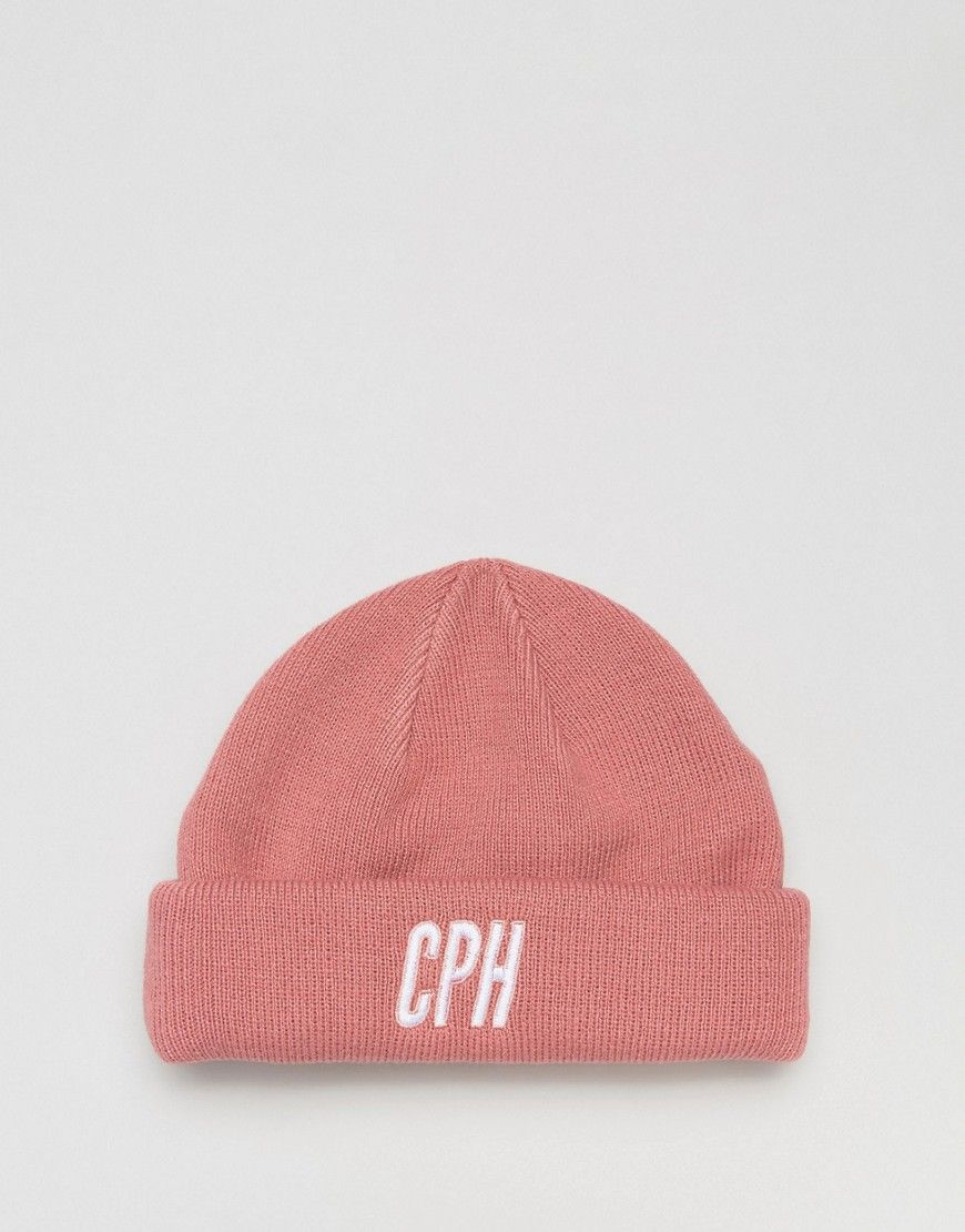 d4d73bf4e5633 ASOS Mini Fisherman Beanie In Pink With Copenhagen Embroidery - Pink ...