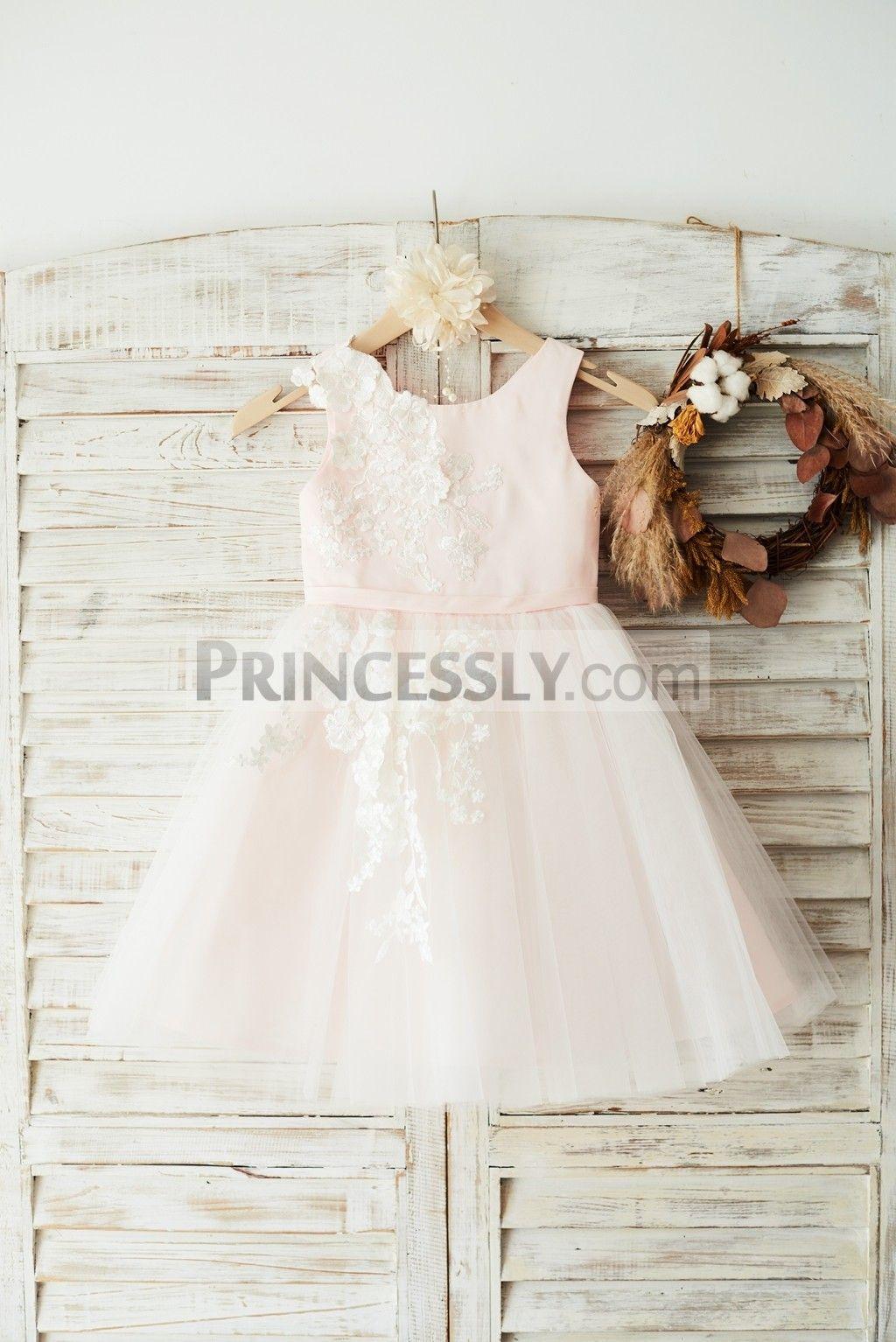 Girls wedding dress  Ivory Lace Tulle Pink Satin Wedding Flower Girl Dress Junior