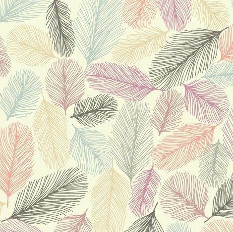 Illustrated Feathers Fabric By Teja Jamilla On Spoonflower