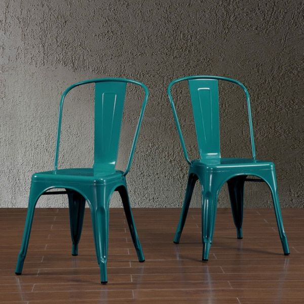 Blue Metal Dining Chairs tabouret bistro peacock dining chairs (set of 2), blue (metal