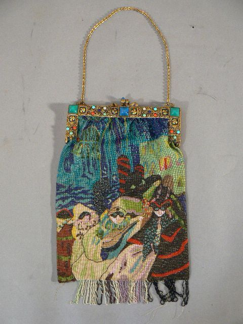 Vintage micro beaded purse French Art Deco masquerade