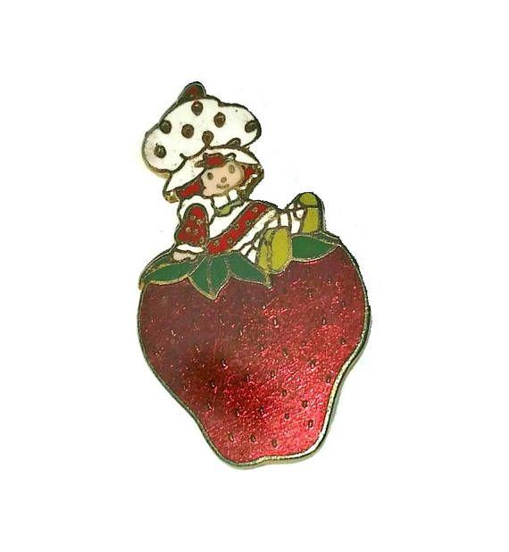 Vintage 1980 Strawberry Shortcake Brooch Lapel Pin~Cloisonne~A.G.C.