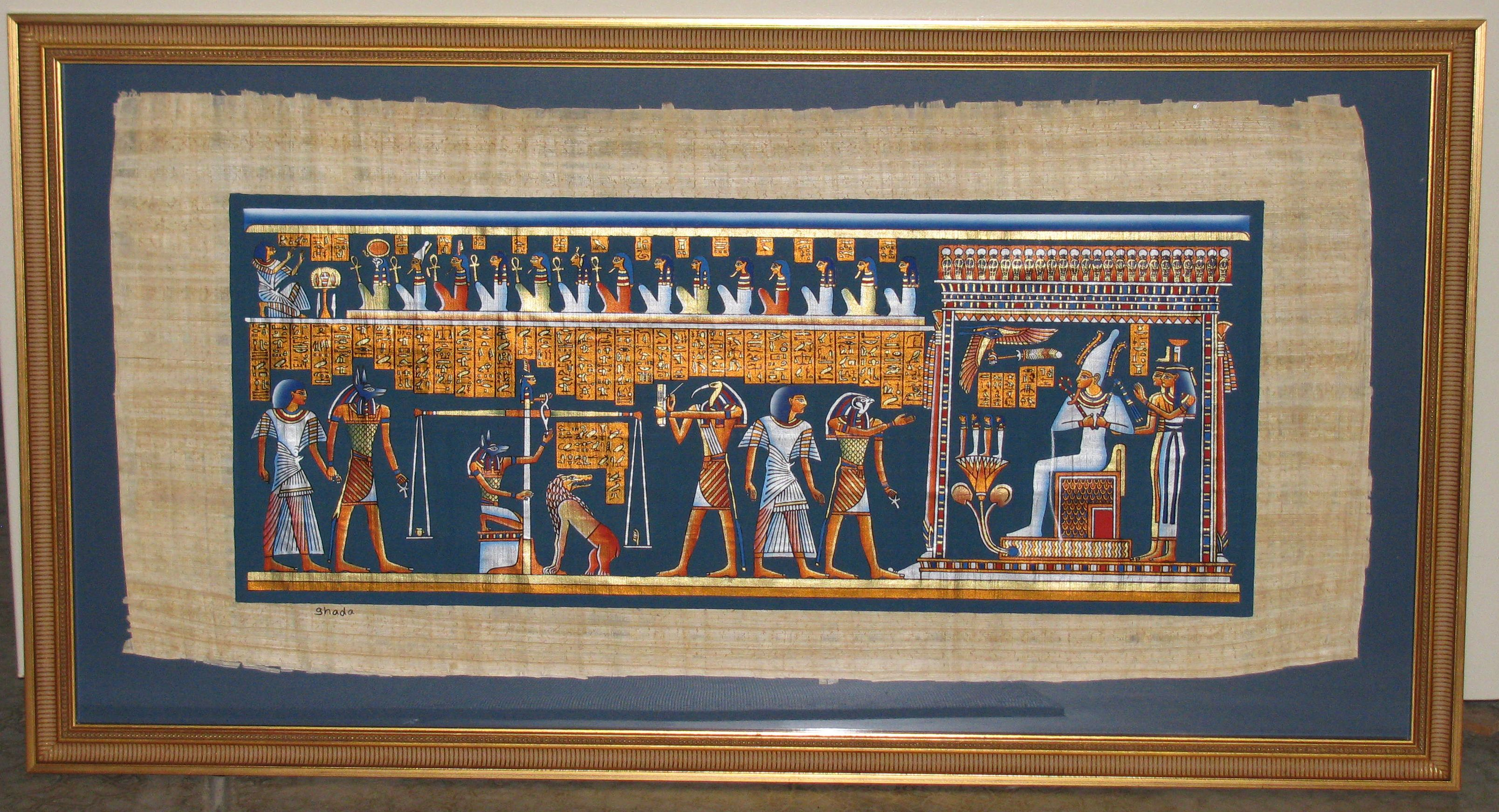 An Egyptian papyrus painting mounted and framed by Custom Framing to ...