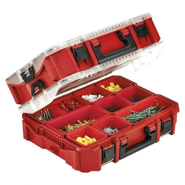 10 compartment pro small parts organizer garage storage box screw bolt fuse  nail whats it worth screw and nail storage ideas bunnings nail and screw  storage
