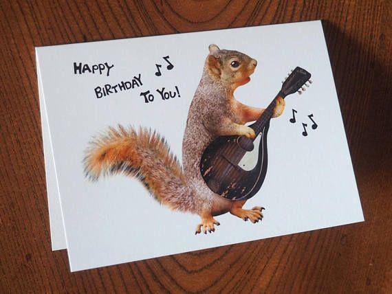 Squirrel Playing Mandolin Birthday Card In 2021 Birthday Cards Singing Happy Birthday Happy Birthday To You
