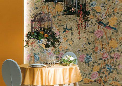 Ceramic Tiles Imitating Wallpaper by Novoceram – Florilege