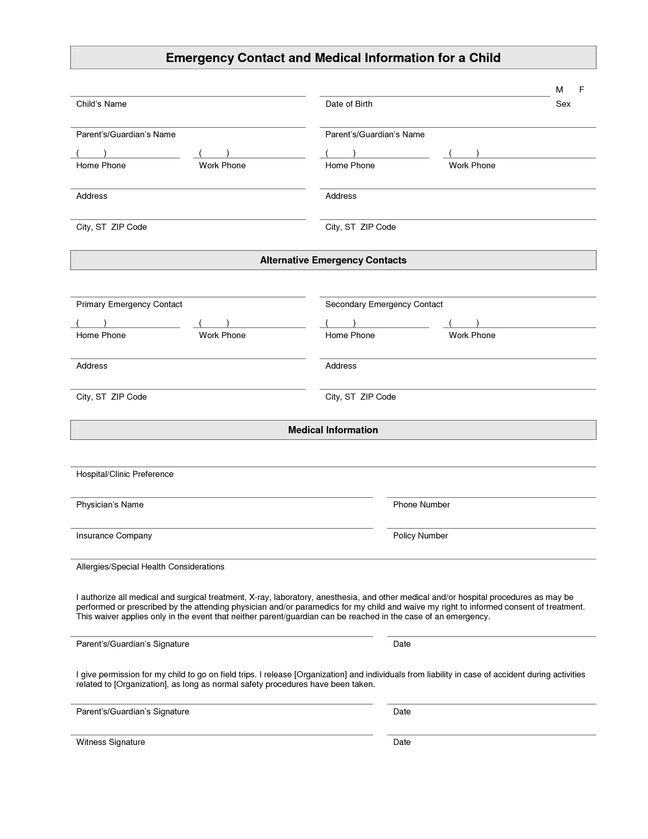 Calendar Organization Questionnaire : Printable emergency contact form template household