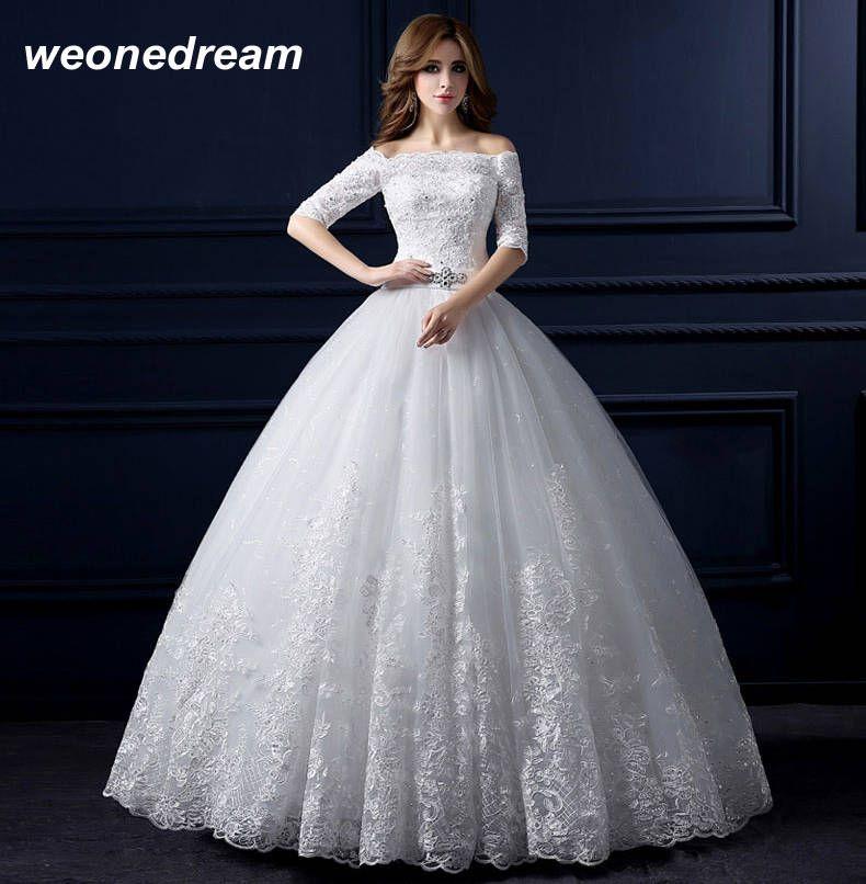 الأبيض الكريستال العروس فستان الزفاف الحوامل أزياء ريترو خط العروس ثوب رسمي نصف كم العاج الرباط قبالة الكتف في Wedding Dresses Wedding Dress Necklines Dresses