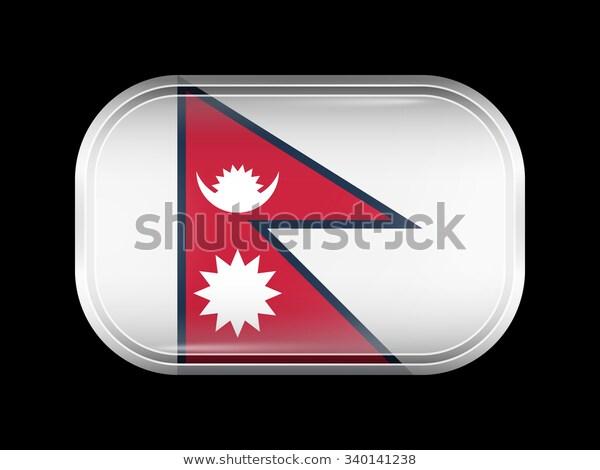 Flag Nepal Rectangular Shape Rounded Corners Stock Vector Royalty Free 340141238 Flag Round Corner Nepal