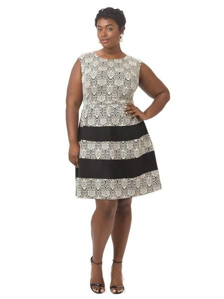 Jacquard Fit & Flare Dress With Black Insets