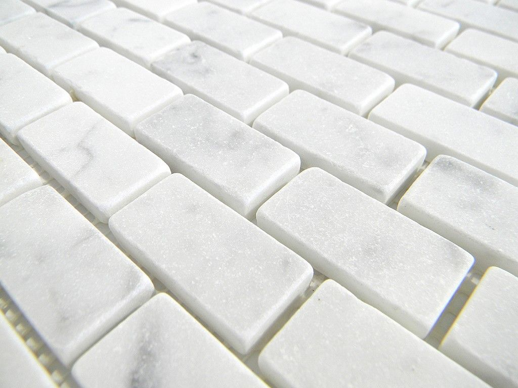 Italian white cararra marble tumbled 19 x 38 x 6mm brick pattern italian white cararra marble tumbled 19 x 38 x 6mm brick pattern floorwall tile dailygadgetfo Images