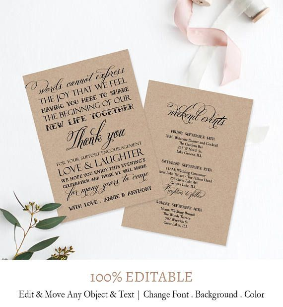 Rustic Welcome Bag Letter Kraft Wedding Insert Template