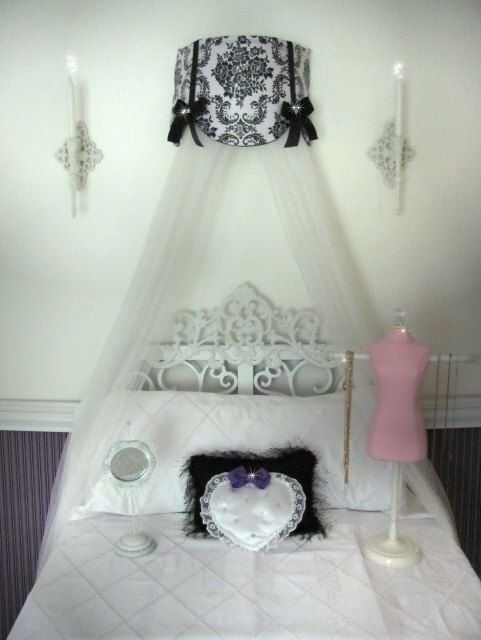 Cornice Teester Bed Crib Crown Canopy Swag Suzette Damask White and Black  with Bows and Sheers - Minnie Mouse Polka Dot Princess Bed Canopy CrOwN With Curtains