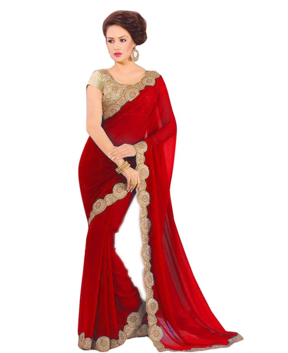 5ebf7281e6023 Georgette+Border+Work+Red+Plain+Saree+-+A180 at Rs 999