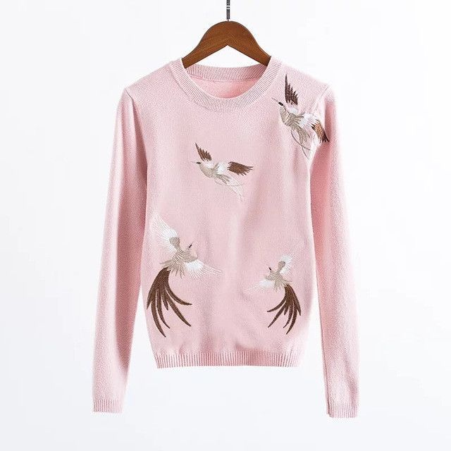 2016 Long Sleeve Knitwear Cranes Embroidery Sweater Computer Knitted Pullovers Fashionable New Solid Color Sweater Knit NR9023