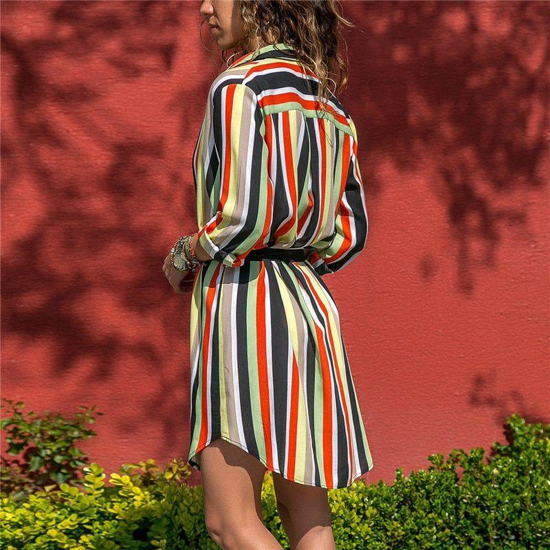 17efbc41f604b Long Sleeve Shirt Dress 2019 Summer Chiffon Boho Beach Dresses Women ...