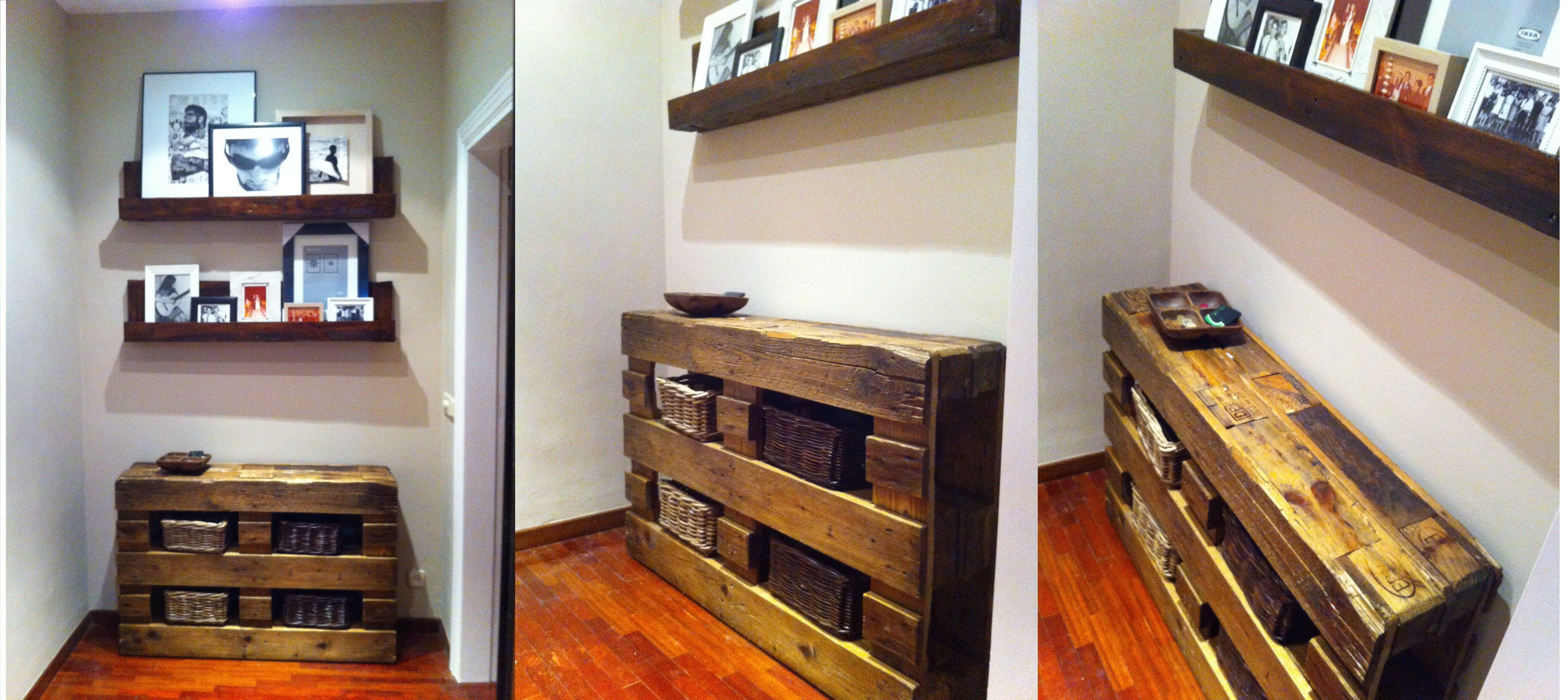 Recibidor completo con palets reciclados estanterias para - Palets muebles reciclados ...