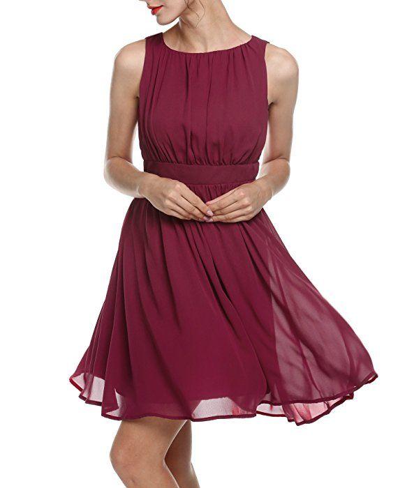 Rotes Damen Elegant Cocktailkleid Sommerkleid Partykleid A-Linie ...