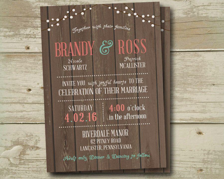 wedding invitation invitations invite invites country beach kraft string lights burgundy grey navy mint blue aqua - Coral And Grey Wedding Invitations