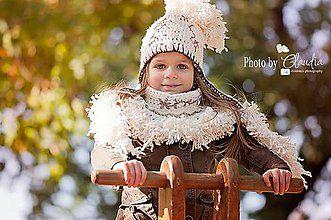 Detské čiapky - Smotanová s capuccino výšivkou - 4412508_