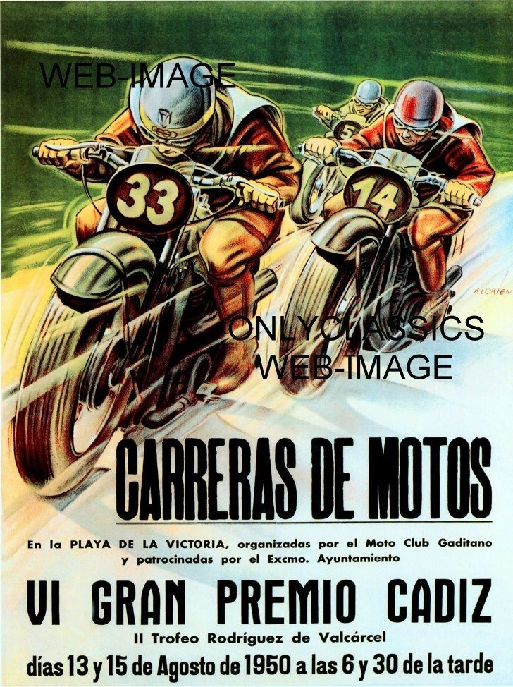 1954 Spanish Grand Prix Motorcycle Race Promotional Advertising Poster