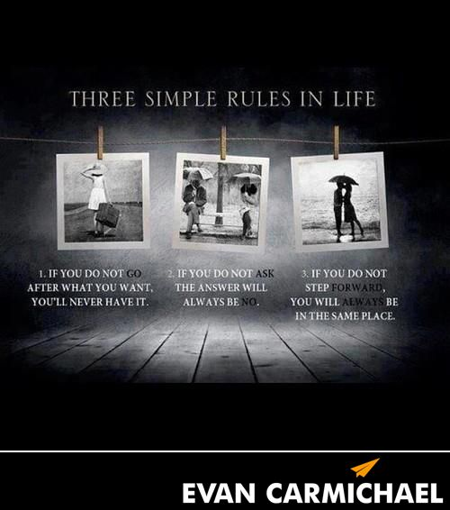 Three simple rules in life. #Believe - http://www.evancarmichael.com/blog/2013/11/09/three-simple-rules-life-believe/