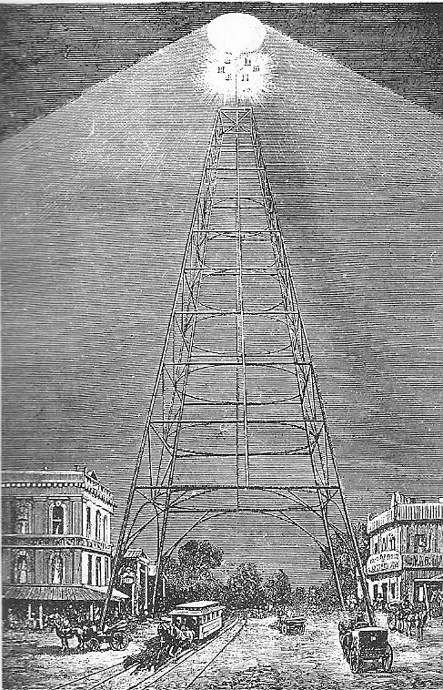 Because of the citys underdevelopment and hilly country moonlight first arc light tower san jose california 1881 malvernweather Gallery