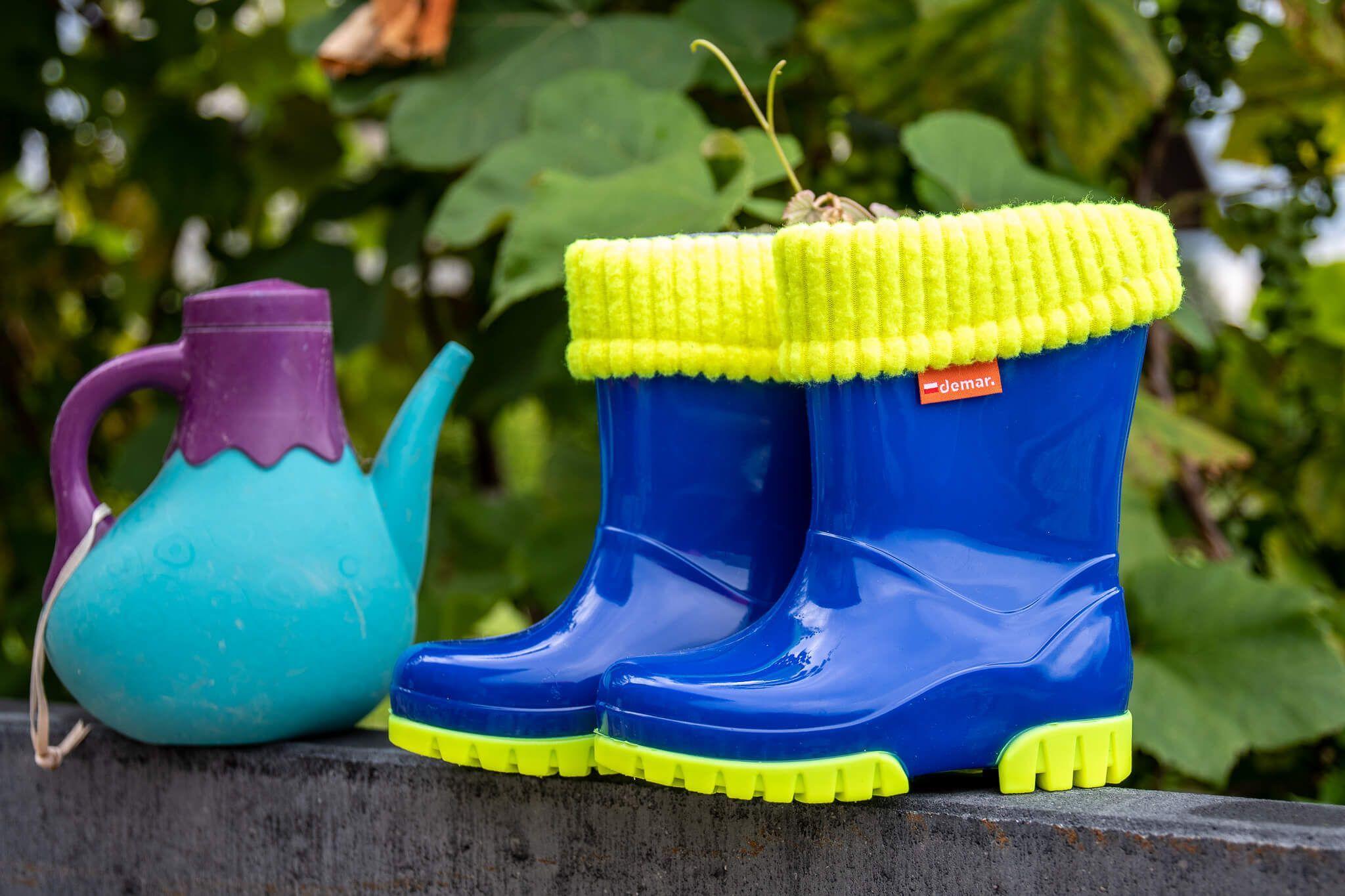 Kalosze Ocieplane Dla Dzieci Niebieskie Gumowce Dzieciece Gumiaki Demar Fluo A 20 27 Rain Boots Rubber Rain Boots Shoes