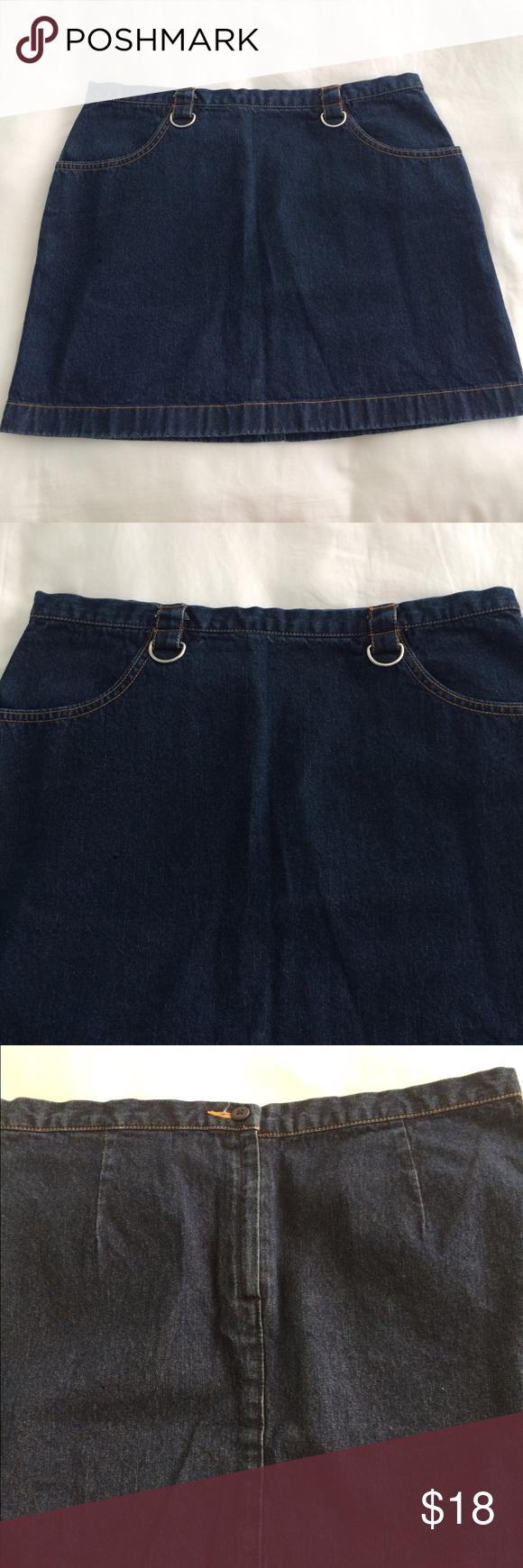 "Denim skirt   vintage  brandy Melville look alike Denim skirt with pockets and two silver belt hoops. Size M - similar to brandy Melville- measures 15"" long Skirts Mini"