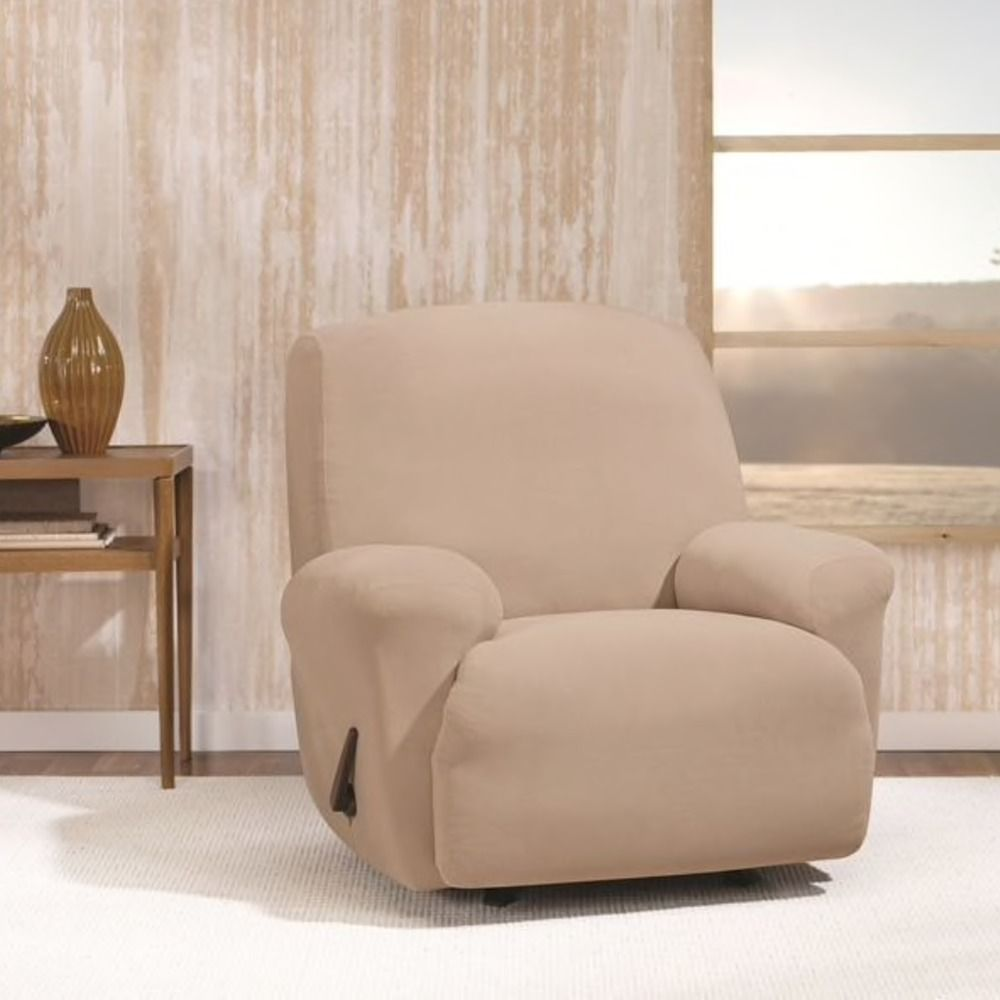 Recliner Slipcover Sure Fit Extra Soft Stretch Twill Morgan Tan