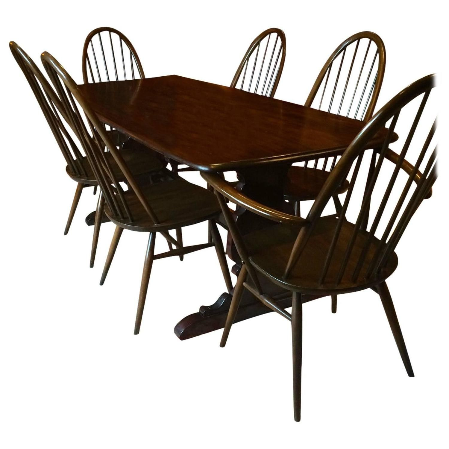 Vintage Ercol Dining Table With Six Chairs Solid Elm Quaker Design