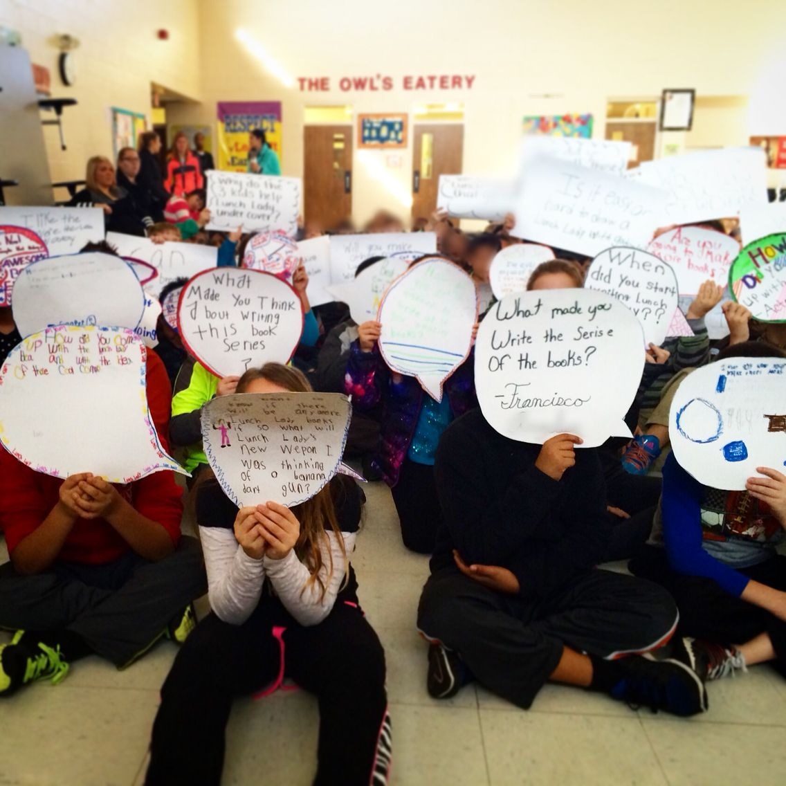 One of the coolest things I've ever seen at a school. Kids' questions were written on word balloons. (Made from poster board) I answered questions as quickly as I could by scanning the audience. Brian Smith, you are a genius!