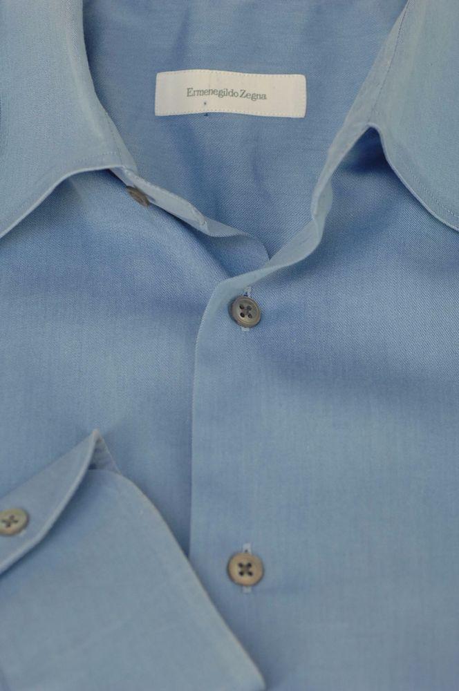 Ermenegildo Zegna $395 Blue Twill Cotton Casual Shirt 16 x 35 #ErmenegildoZegna