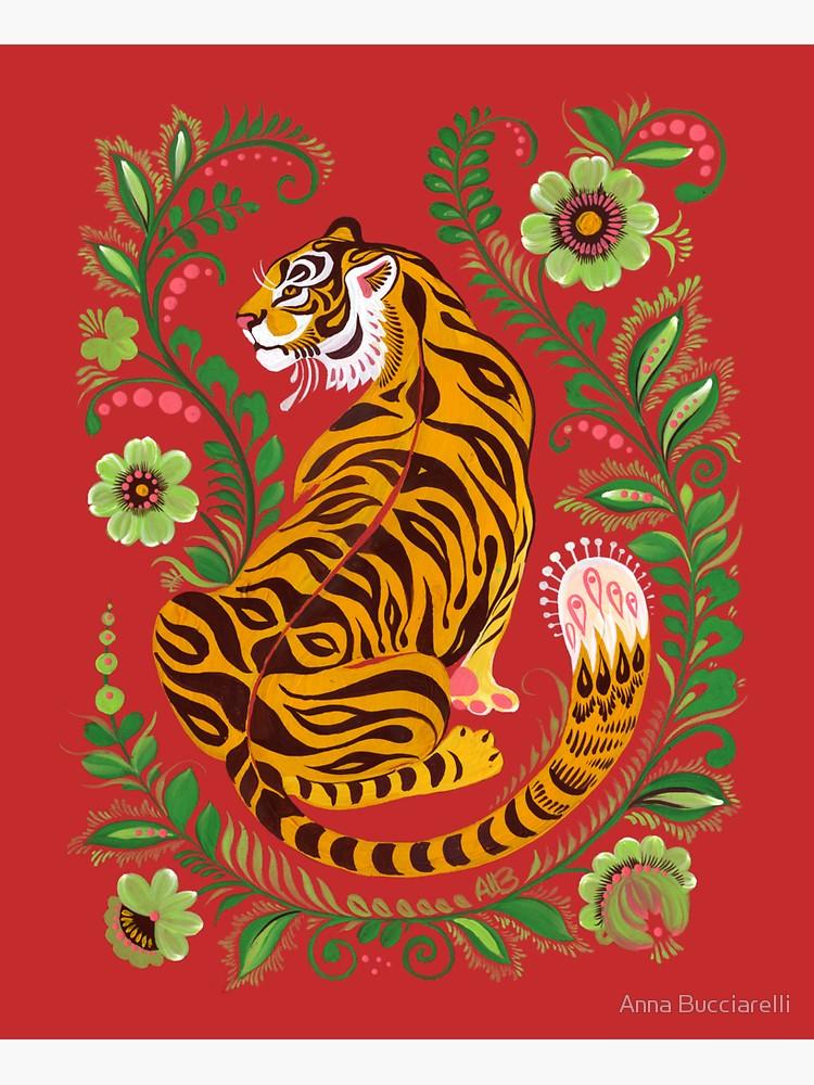 'Tiger Folk Art' Sticker by Anna Bucciarelli