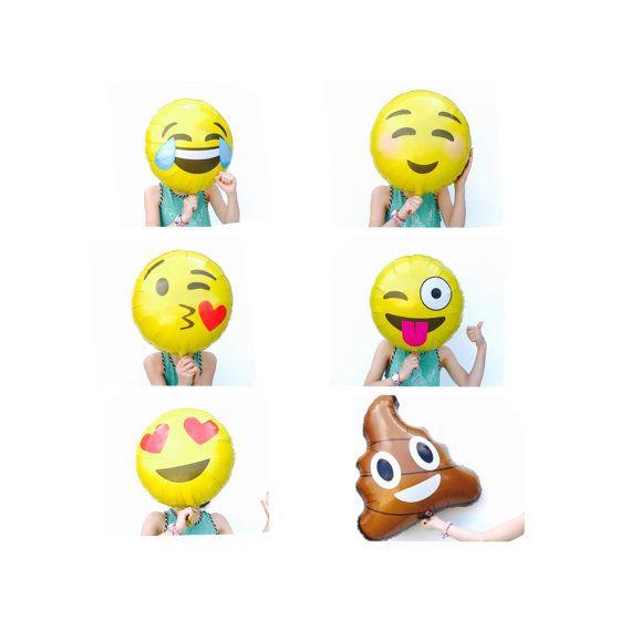 Emoji Balloons NEW Emoticon Balloon 18 Poop Love Smiley LOL Wink Kisses Party I H