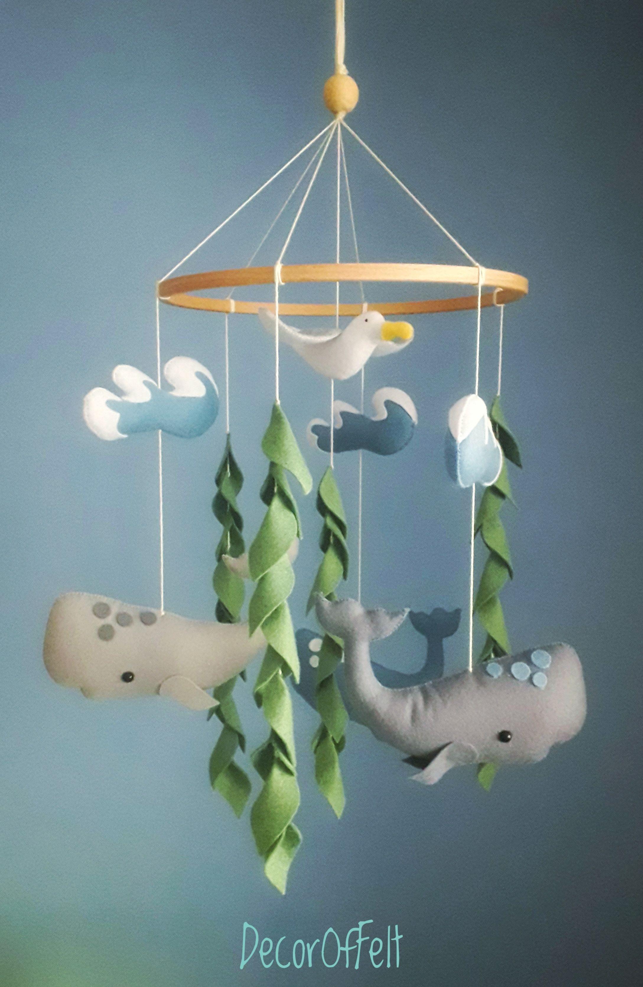 Whale Crib Mobile Nautical Mobile Ocean Theme Decor Sea Mobile Felt Baby Mobile Newborn Mobile V 2020 G