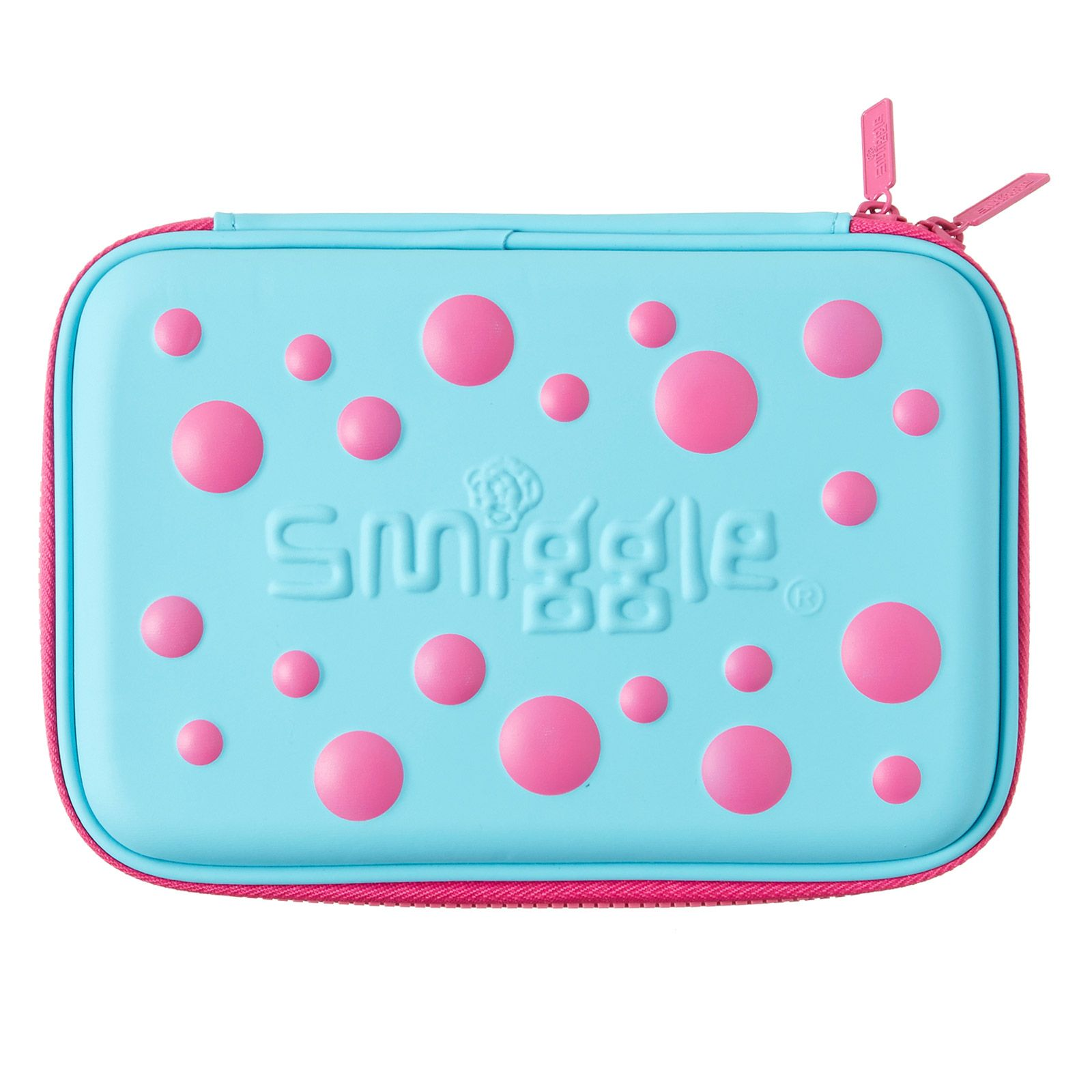 This is a Smiggle case that has Pink & Light Blue Pencil