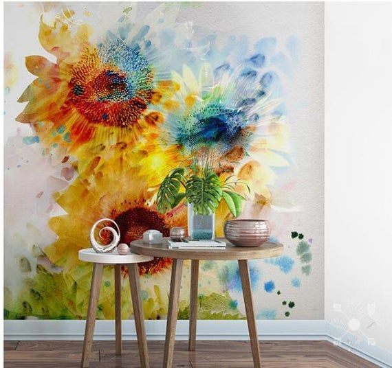 Watercolor Yellow Sunflower Wallpaper, Modern Garden Big Flowers Sunflower Wall Murals Wall Decor #sunflowerwallpaper A.Peel and stick wallpaper.  1. We have added a new type of wallpaper, peel and stick, which is much easier for you to apply to your wall.  2.There is also about 2cm overlap and you need to cut them and just peel and stick and then apply to the wall. 3.We will cut in several panels if your wall #sunflowerwallpaper