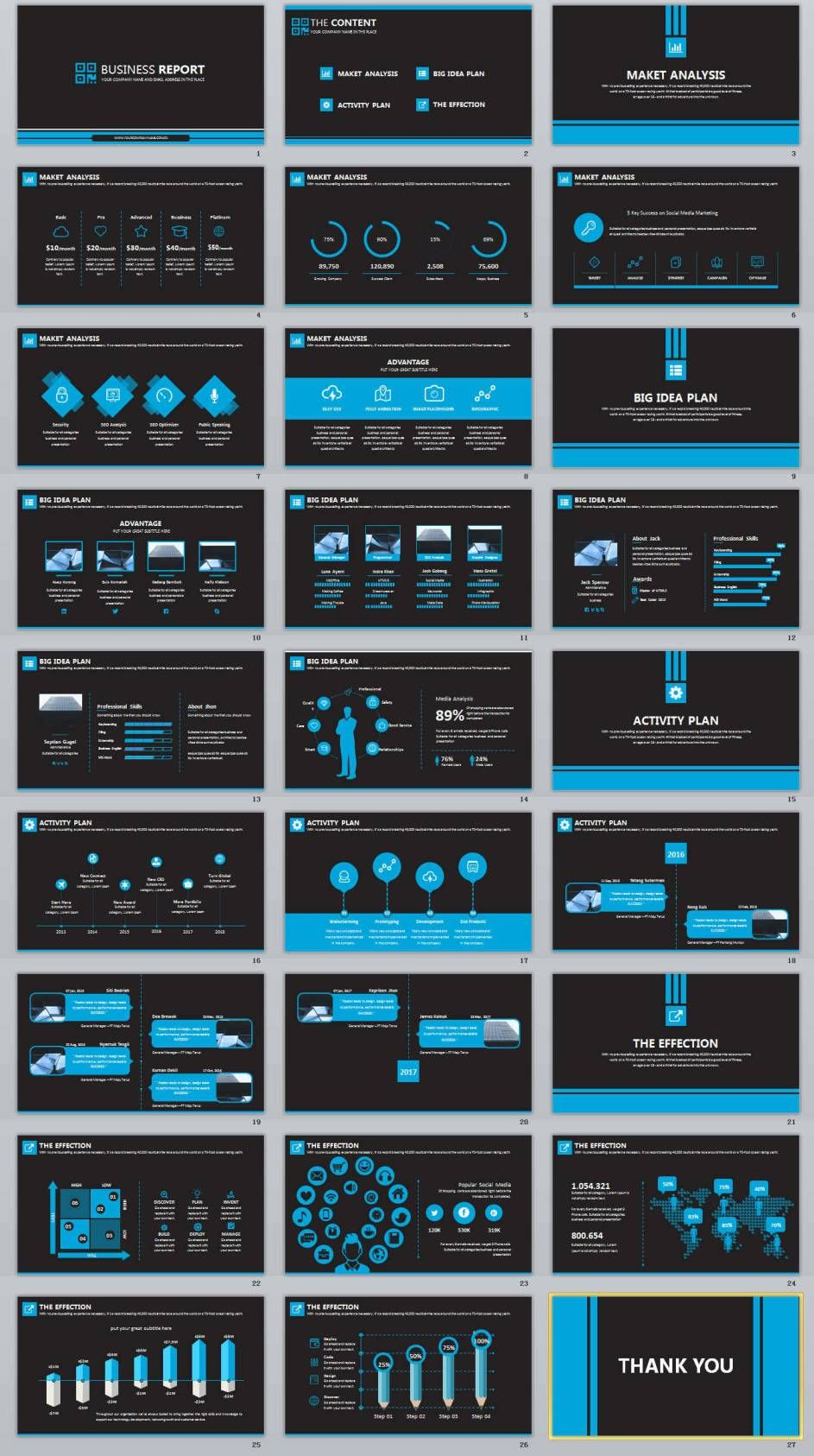 Black Business Professional Powerpoint Templates  Keynote