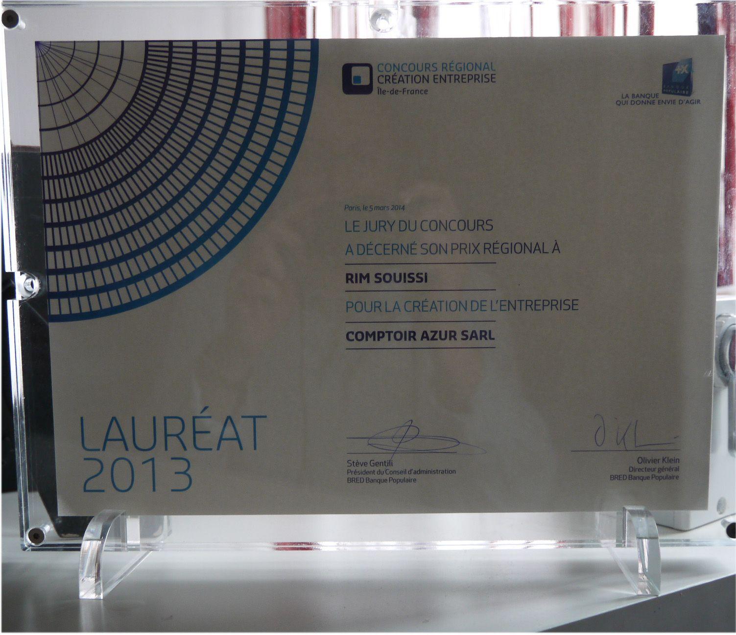 Prix du concours régional de la création d'entreprise décernée à Comptoir Azur et organisé par la Banque Populaire.Photo COMPTOIR AZUR