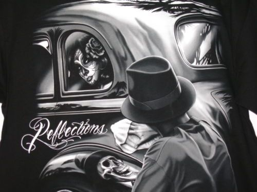 af2a2ff0077a David-Gonzales-Art-t-shirt-Men-039-s-Medium-Black-034-Reflections-034-car- day-of-the-dead #skull #artwork #tshirt #artist